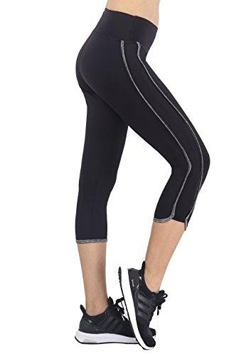 Neonysweets Womens Yoga Pants Capri Fitness Gym Workout Pants Black Gray S