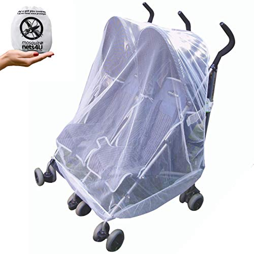 Mosquito Net for Twin or Tandem Buggy Pushchair FREE Travel Net Bag – BONUS! 6 Insect Repellent Smiley Patches