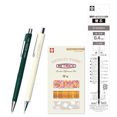 サクラクレパス 油性ボールペン レトリコ 替芯+付箋+シャープセット C柄 ディープグリーン NOB304R#31RC