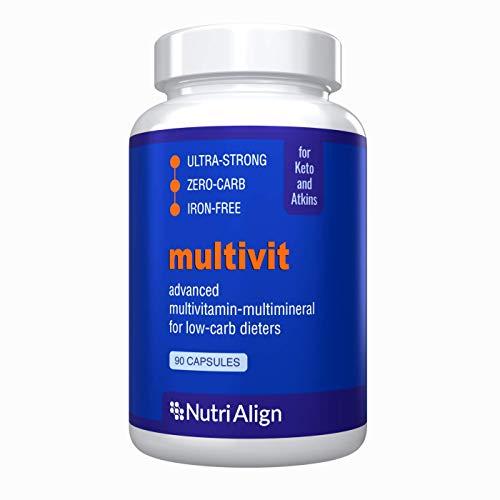 Low-Carb Diet Multivitamins. Optimas para la Atkins, Cetogénica y dietas similares bajas en carbohidratos. Extra fuerte, sin hierro, sin azúcar, cero carbohidratos. 90 cápsulas.