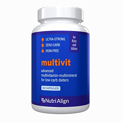 Nutri-Align Multivit for Keto, Atkins and Similar Low-Carb Diets. Extra-Strong, Sugar-Free, Zero-Carb. All-Round Powerful Nutritional Support. 90 Capsules.