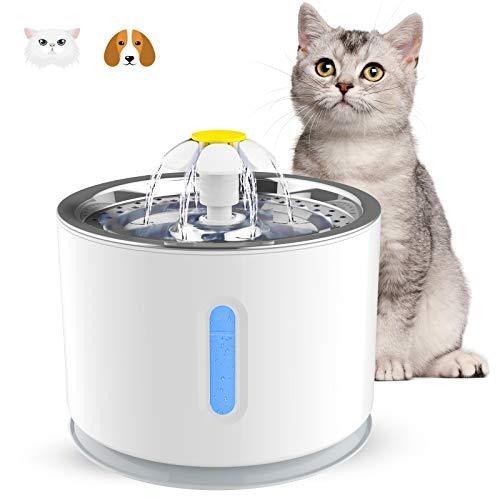 Vinsic - Fontana ad acqua per gatto e cane di piccola taglia, con erogatore di acqua per gatto, 2,4 l, silenziosa, con 1 filtro a carbone attivo e vassoio in acciaio inossidabile, luce notturna a LED