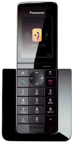 Panasonic KX-PRS120GW Design-Schnurlostelefon (5,6 cm (2,2 Zoll) TFT-Farbdisplay, Anrufbeantworter, Babyphone) schwarz