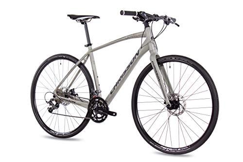CHRISSON 28 Zoll Gravel Bike Urban One grau matt 56 cm, Urbanrad mit 16 Gang Shimano Claris Schaltung, Cross Rennrad für Damen und Herren