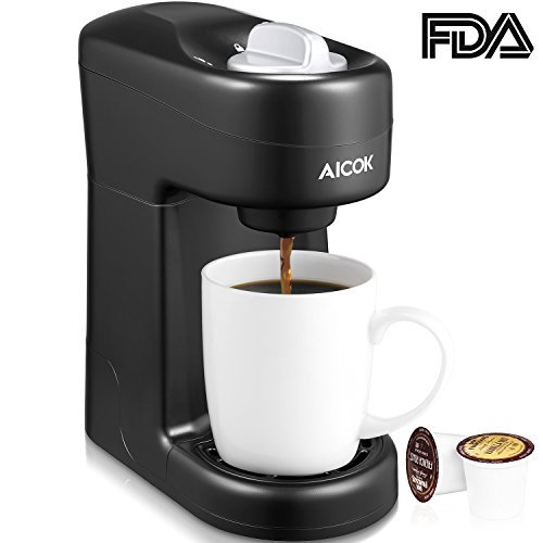 Aicok Single Serve Coffee Maker, Single Cup Travel Coffee Brewer with One-Touch Button for Most Single Cup Pods including K-CUP pods, Quick Brew Technology, 800W, Black