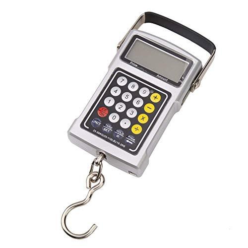 ZTBXQ Herramientas de Hardware Báscula Digital 50Kg Mini báscula Digital Retroiluminación LCD Báscula de Peso Gancho electrónico Calculadora de Equilibrio para Pesca Equipaje de Viaje