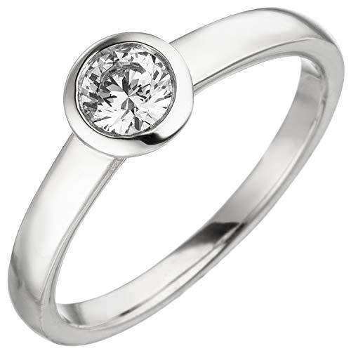 Jobo Damen Ring 585 Gold Weißgold 1 Diamant Brillant 0,25 ct. Diamantring Solitär Größe 60