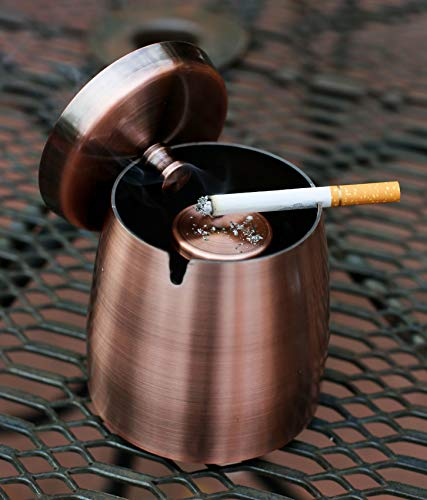 Cigarette&Cigar Smokers Waterproof Windproof Indoor Outdoor Ashtray with Lid-Large Heavy Weighted Stainless Steel Tobacco Ash Tray for Outside Patio-Wind Safe Covered Ashtrays for Cigarettes or Cigars