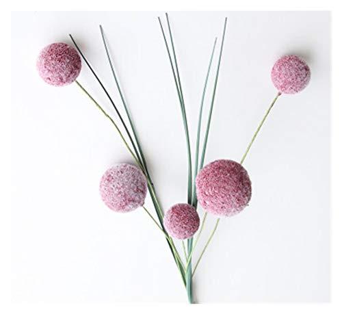 Zxebhsm Künstliche Blumen Korean-Stil Simulation PE 5 Kopf Tufting Blume Ball Hause Wohnzimmer Dekoration Gefälschte Blume Hochzeit Szene Layout Dekoration (Farbe : Tief Rosa)