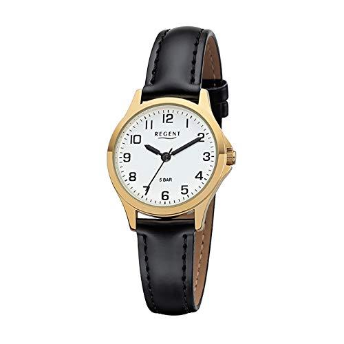 REGENT Damen-Armbanduhr analog Quarz Lederband W-0073