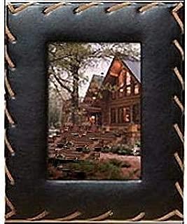 RIATA faux black leather w/rope stitch detail by Prinz - 4x6