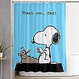 liangchunmei Lustiger Stoff Duschvorhang Snoopy Danke Papa Wasserdichtes Badezimmer Dekor mit Haken 60 X 72 Zoll