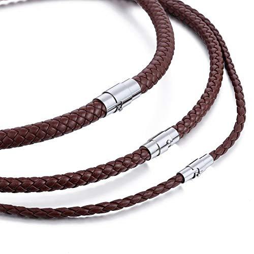 KJFUN Gargantilla para Hombre Collar Negro Marrón Cuero Trenzado Acero Inoxidable Cierre Magnético Joyería Masculina Regalos