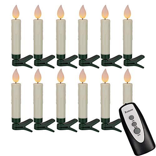Hellum 524796 LED Weihnachtsbaumkerzen kabellos, 12x warmweiß LED Kerzen mit Fernbedienung + Timer, batteriebetriebene 10x1,5cm Christbaumkerzen ohne Kabel, dimmbar mit Flackermodus, Wachstropfen