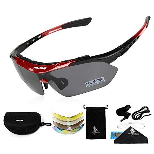 FREE SOLDIER Polaroid Sonnenbrille Herren Fahrradbrille Sportbrille 5 in 1 Taktische Militärische MTB Brille zum Radfahren Fahrt Wandern Fischen Outdoor-Aktivitäten Laufbrille (Rot)
