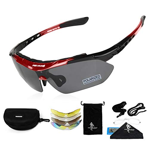 FREE SOLDIER Sports Sunglasses 5 in 1 Polarized Cycling Glasses for Men Women Tactical Military Glasses for Cycling Running Driving UV 400 Protection Golf Sunglasses(rot)