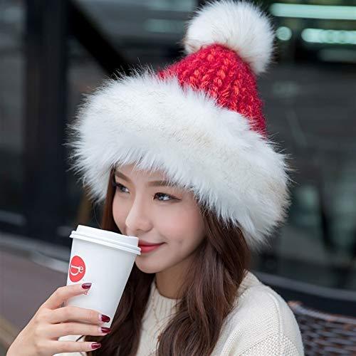 ERCZYO La Sra Invierno Tejida a Mano de Punto de la Princesa del Sombrero del Sombrero de Mongolia Aplica a transfronteriza Ebay/Deseo, etc (Color : Red, Size : One Size)