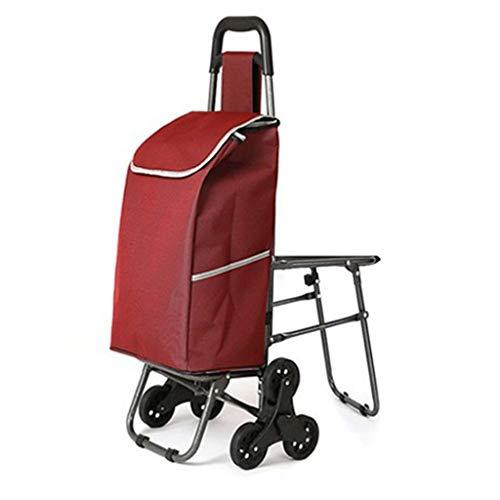 CZLSD Con una Silla, escaleras Que suben, Carro de Compras, Carro de Compras Pasado de Moda, Carro pequeño, Carro de Mano (Color : Red)