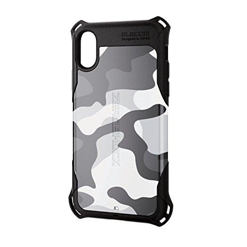 エレコム iPhone X ケース カバー 衝撃吸収 [落下時の衝撃から本体を守る] ZEROSHOCK スタンダード 衝撃吸収 フィルム付 アーバンカモフラージュ PM-A17XZEROT2