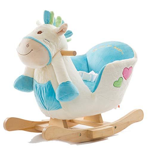 GOUO@ Cheval à Bascule pour Enfants Bébé Bébé Fauteuil à Bascule Chaise en Bois Massif à Bascule Animal Jouet à Bascule 1-2 Ans avec de la Musique