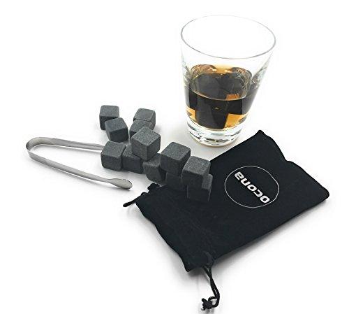 ocona Whisky Steine, wiederverwendbare Eiswürfel mit Eiszange, Speckstein (12 Stück)