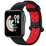 Keweni Correa Deportiva Compatible con Xiaomi Mi Watch Lite/Redmi Watch - Correa de Repuesto de Silicona Colorida para Hombres y Mujeres (Negro Rojo)