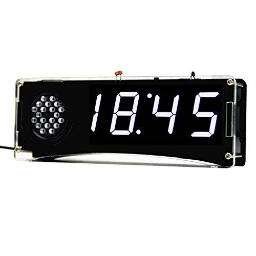 Kunhe DIY Alarm Clock Kit with 4-Digit LED and Transparent Case (White)