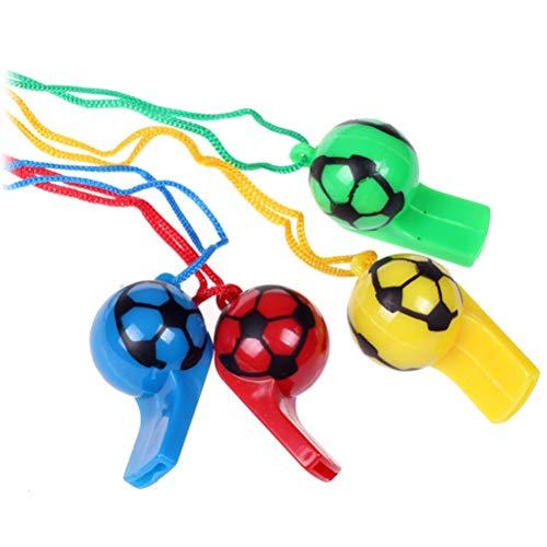 BESTOYARD 20 Piezas de plástico de fútbol silbatos Cheerleading Árbitro Silbato con Cuerda de Juguete para niños niños (Color Aleatorio)