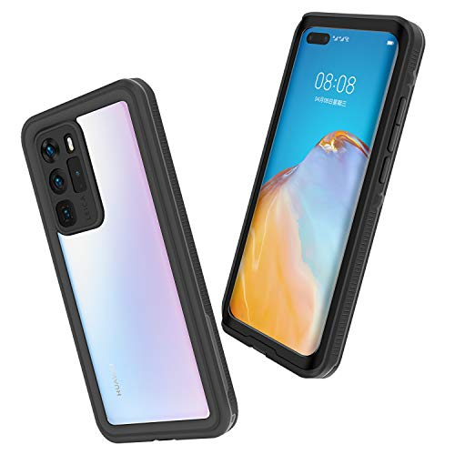 Mishcdea Huawei P40 Pro Waterproof Case Shockproof Snowproof Dirtproof Full Body Protective Case Only for Huawei P40 Pro (Black)