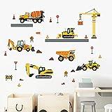 decalmile Wandtattoo Kinderzimmer Baufahrzeug Wandaufkleber LKW Traktor Bagger Autos Wandsticker Kinderzimmer Babyzimmer Spielzimmer Wanddeko