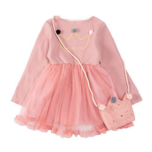 Kobay Kleinkind Baby Kinder Mädchen Solide Patchwork Tüll Prinzessin Kleid Tasche Freizeitkleidung Kinder Langarm Einfarbig Crown Ball Ball Stitching Mesh Kleid + Umhängetasche (12M-5Y)