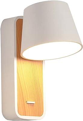 Artpad 7W blanc neutre LED applique nordique avec base en bois et interrupteur nordique en bois lampe de lecture murale chevet escalier couloir mur appliques murales luminaire