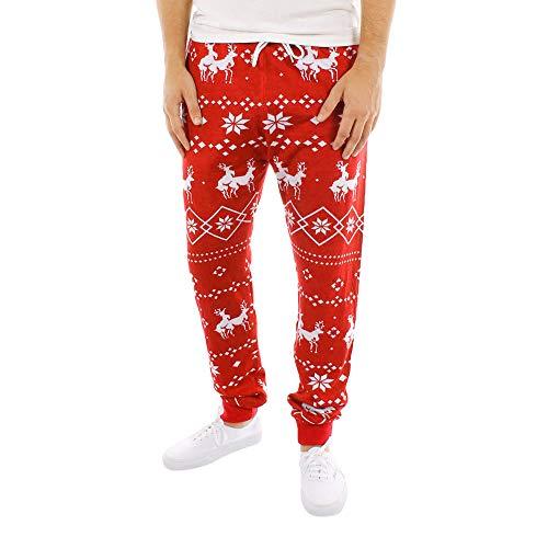 Hattfart Women Men's Casual Pants Christmas Comfy Stretch Print Drawstring Wide Leg Lounge Pants for Christmas (XXL, Red-Men)