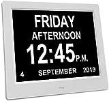U-A Reloj de Demencia, Reloj de 14 Pulgadas Calendario Día de Reloj, Reloj de Día de Pérdida de Memoria Extra Large Non-Abreviado Día y Mes Reloj Digital