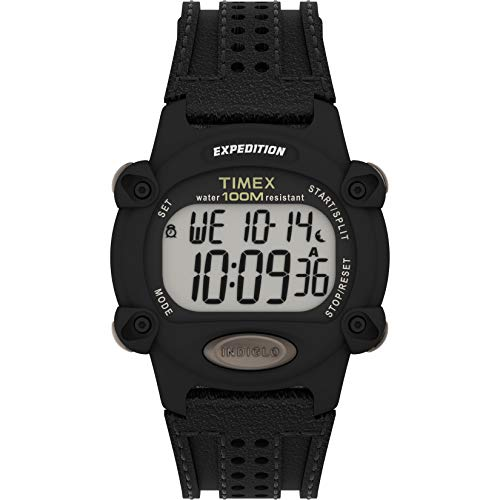 Timex Men's Expedition Digital CAT 39mm Watch – Black Case with Black Fabric & Leather Strap