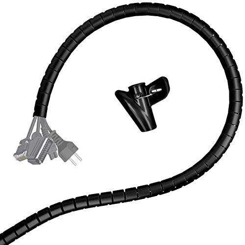 Minadax® 2 Meter, 28mm Ø professioneller HighTech Kabelschlauch Kabelkanal in schwarz für flexibles Kabelmanagment an Computer und Arbeitsplatz