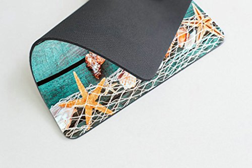 Smooffly Gaming Mouse Pad Custom,Pretty Turquoise Blue Nautical Background Decorated with Draped Fishing net and Starfish on Painted Rustic Wooden Boards Mouse pad Photo #3