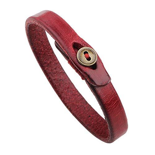 Generic Damen Lederarmband,Vintage Leder Geflochten Armreifen Taste Rot Charme Bracelets Persönlichkeit Männer Jungen Frauen
