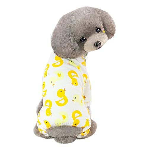 WT-DDJJK Home Wear Pijamas, All Seasons Pijamas para Perros con Estampado de Dibujos Animados Suave y cómodo Mono para Cachorros Lindo