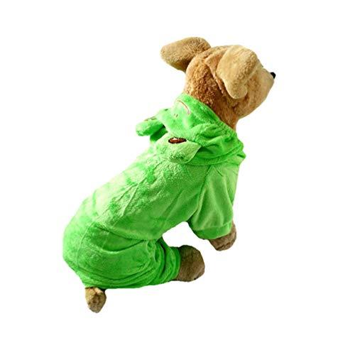 Xinwcang Haustier Kostüm für Hunde Halloween Frosch Hundekostüm Kleidung für Weihnachten Kleid Karneval Hundemantel Grün XS
