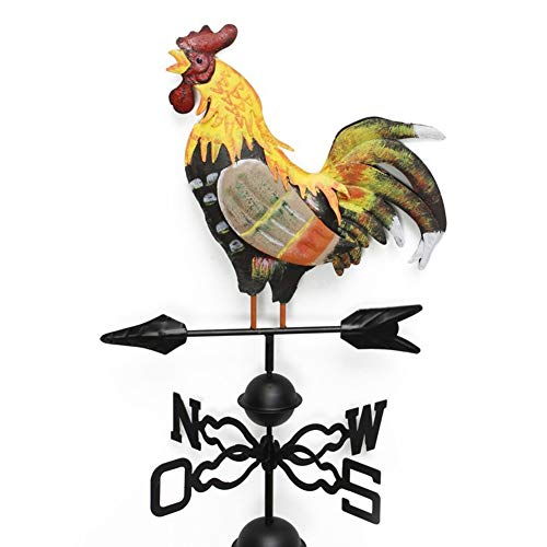 w5bhj88 Weather Vane with Rooster Ornament, Cast Iron Wind Vane Weather Vane for Roofs Rooster Weathervane Garden Yard Patio Decor (as Shown)