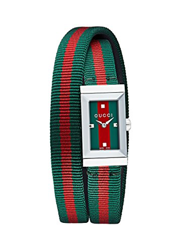 GUCCI NEW G-FRAME watch YA147503, 14x25 mm stainless steel case with pyramidal sapphire crystal and snapped case-back, Sylvie Web dial with pyramidal shape index, Sylvie Web triple loop nylon strap with stainless steel buckle closure, Swiss Made Rond...