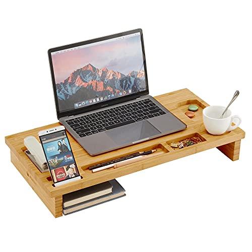 ACAZA Monitor Standaard, Scherm Verhoger, Laptop Beeldscherm verhogen, bamboe