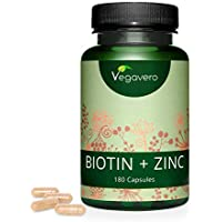 Biotina Vegavero® | 10000 mcg con Zinc | Vegana & La Única Sin Aditivos | Caída Pelo + Crecimiento + Vitaminas Para el Cabello | Piel + Uñas | 180 Cápsulas