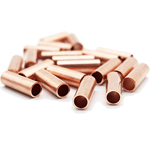 Metal Macrame Brass Copper Golden Tube Bead Ring for DIY Macrame Wall Hanging Plant Holder Craft DIY Kit 20 Pieces 1.2'' Long Large Hole (Copper)