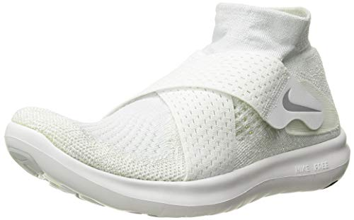 Nike Women's Free RN Motion Flyknit 2017 Running Shoe White/Wolf Grey-Pure Platinum-Volt 8.0