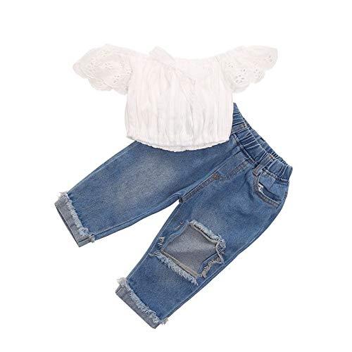 BOBORA Ensemble Bébé Fille Été, 2PCs Vêtements Bébé Enfants T-Shirt à épaules Dénudées avec Jean 1-6Ans