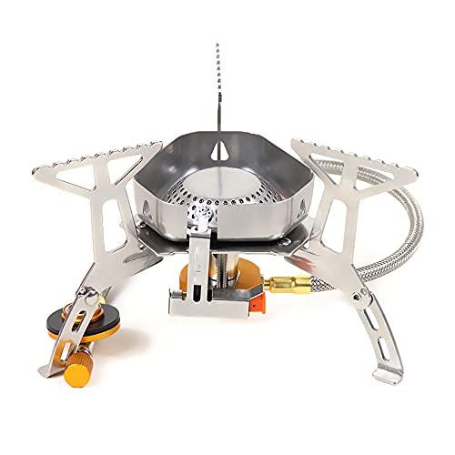 Estufa de camping, a prueba de viento al aire libre Camping estufa de gas 3500 W Mini plegable con caja de transporte para cocinar al aire libre