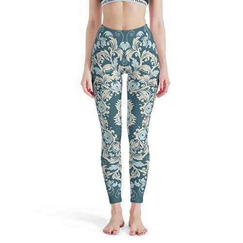O5KFD&8 Mandala Damen Design Fitness Leggings Damen Sexy Hohe Leibhöhe Teal Mandala Yoga Hose Workout Fitness Damen Legging - Indischer Stil White 2XL