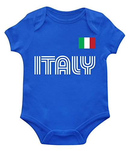 SpiritForged Apparel Italy Soccer Jersey Infant Bodysuit, Royal 6 Months